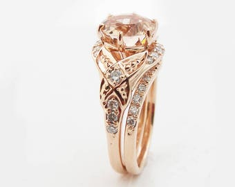 Floral Morganite Engagement Ring Diamond Wedding Band Bridal Set in 14k Rose Gold Custom Engagement Ring