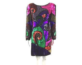 RARE Jennifer Abstract Vintage Sequin Dress