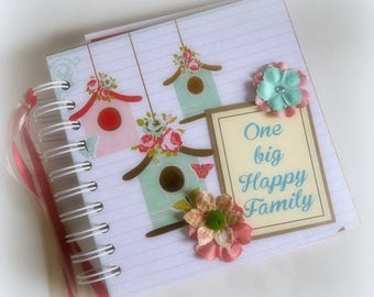 ONE BiG HAPPY FAMILY premade 6x6 scrapbook travel journal photo album graduation gift pocket pages