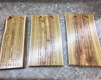 Two Player Live Edge Locust Cribbage Board