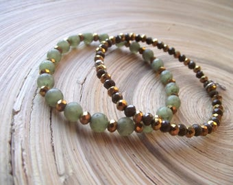 Bracelets 2 set glass finish and Polaris olive / gold