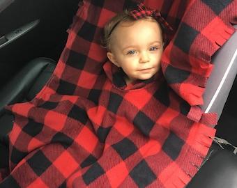 Car seat Poncho - Buffalo Plaid baby poncho - car seat blanket - lumberjack baby - red buffalo plaid - fleece poncho
