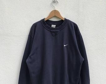 "20% OFF Vintage Nike Embroidery Logo Sweatshirt / Nike Swoosh Sweater / Navy Blue Sweater / Nike Oregon / Armpit 24"" / Nike Jumper"