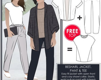 Besharl Discount Pattern Bundle // Sizes 20, 22 & 24 // Style Arc PDF Sewing Patterns for a Women's Jacket, T-shirt and Pant