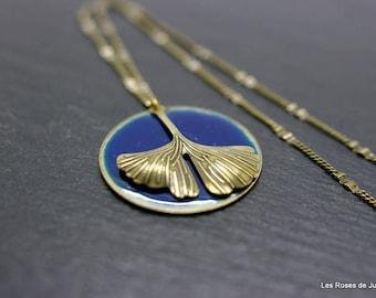 Art deco Ginkgo pendant, necklace pendant