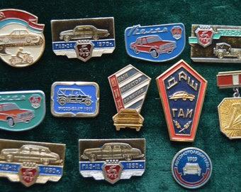 Set of 12 Soviet car pins, USSR Retro Automobiles pin badges, Automobile pins made in USSR, Soviet Badges,  badge, Made in USSR