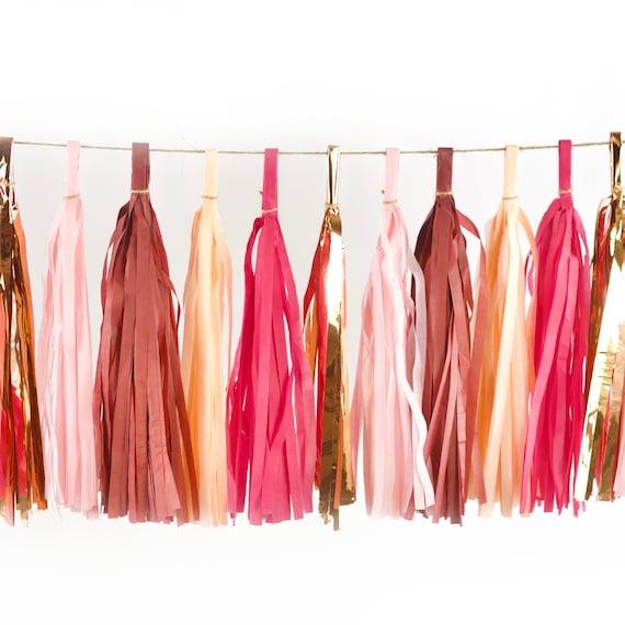 Pretty N' Pink Tassels, Tissue Tassels, Tassel Banner, Birthday Party Decor, DIY Tassels, Girl Birthday Wedding Baby Shower Maroon, Burgundy