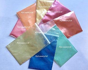 Lot of 8 TOTAL 1 Gram Sample Micas Mica Sparkle Shimmer Soap Making Cosmetic Slime Pigment PINK Orange Gold Burgundy Copper Jade BLUE Teal