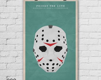 Friday the 13th Poster. Pop Culture and Modern Wall Decor. Large Art Print. 11x17, 13x19, 16x20, 18x24, A1 Size. Select a size. Item no. 082
