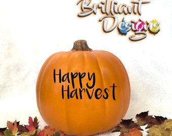 Pumpkin decal,Happy Harvest sticker,Halloween Decal,Harvest decor,Halloween sticker,pumpkin sticker,jack o lantern decal,Harvest pumpkin