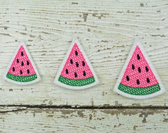 Watermelon Felties Set of 4 - Hair Bow Supplies - Badge Reel Cover - Craft Supply - Scrapbooking - Card Making - Planner Clip