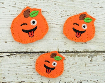 Wink Pumpkin Feltie Set of 4 - Hair Bow Supplies - Clippie Cover - Badge Reel Cover - Craft Supply - Scrapbook - Card Making - Planner Clip