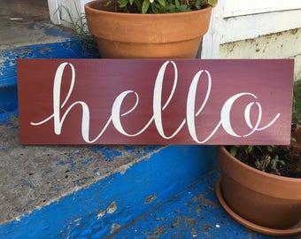 Hello stenciled wood sign, porch decor