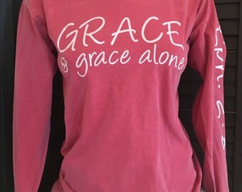 Large Christian Scripture Eph. 2:8 Southern preppy inspired Comfort Colors Long Sleeve Shirt