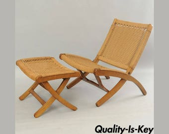 Mid Century Modern Woven Rope Folding Lounge Chair & Ottoman Hans Wegner Style
