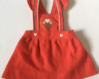 Vintage Red Carter's Knit Pinafore Girls Sz 12 18 months