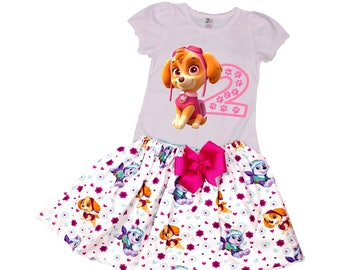 Girl Paw Patrol birthday outfit, Skye  girl dress baby Skye  outfit girl Age and name outfit  toddler name age outfit girl toddler  outfit