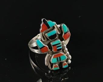 Native American zuni sterling silver rainbow man ring rainbow dancer ring zuni ring size 7.75