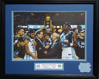 North Carolina Tar Heels National Champions 2017 Season 16 x 20 inch custom framed picture