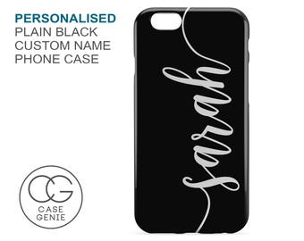 Personalised Handwritten Name Case in Black for iPhone X 8 PLUS 7 6 6s 5 5s 5c SE Samsung Galaxy S8 S7 S6 Edge S5 Mini Custom Cover
