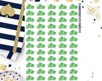 60 Green Money Planner Stickers! LF123