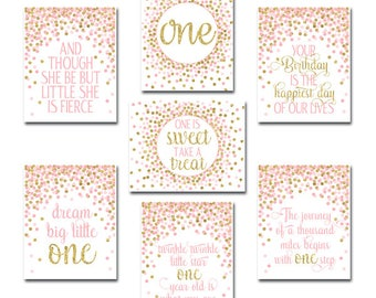 First Birthday Party Decor Set of Prints 1st Birthday Party Signs Pink Gold Girl First Birthday Party Decor Pink And Gold Nursery Wall Art