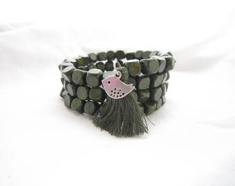 olive green twist bracelet,4 strand bracelet,women fashion bracelet,personalized bracelet,Beads jewelry,bird charm bracelet,tassels bracelet