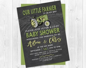 Tractor baby shower invitation, Farm baby shower invitations, Tractor baby shower, John Deere, Green tractor, Yellow, Co-ed, Tractor shower