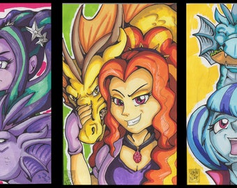 The Dazzlings Sirens ACEOs original drawings