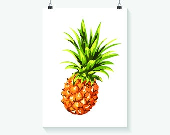 Pineapple Print - Home Decor - Hippie Art Print -  Art Print - Summer Print- Floral Print- Supernatural