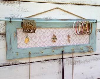 distressed jewelry holder, Jewelry Holder, Jewelry Organizer,  green frame