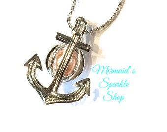 Anchor Pearl Cage Pendant Pirate Pearl Jewelry Pearl Pendant Nautical Pearl Cage Pirate Jewelry Pearl Locket, Pearl & Chain sold separately