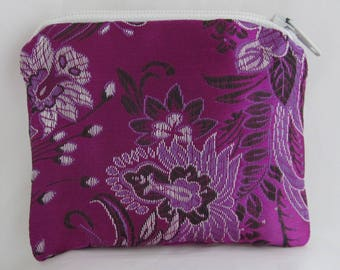 Small Violet Purple and Lavender Print Brocade and Satin Coinpurse Coin Purse Pendulum Crystals Zipper Bag Pouch Fancy