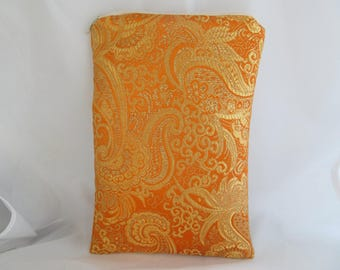 Brocade Tarot Card Bag Orange and Gold Satin Lining and Zipper Dice Makeup Cosmetics Jewelry Pouch Fancy