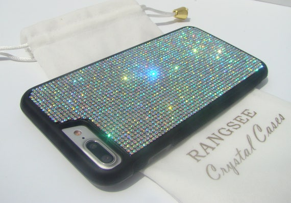 iPhone 8 Plus / iPhone 7 Plus Crystal AB  Rhinestone Crystals on Black Rubber Case. Velvet/Silk Pouch Bag Included, .
