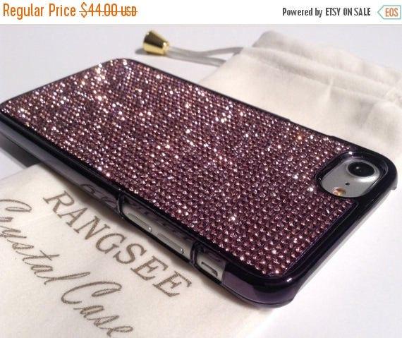 Sale iPhone 7 Case Purple Amethyst Rhinstone Crystals on iPhone 7 Black Chrome Case. Velvet/Silk Pouch Included, Genuine Rangsee Crystal Cas