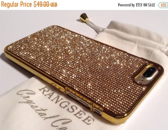 Sale iPhone 7 Plus Case Gold Topaz Rhinestone Crystals on Gold Chrome Case. Velvet Pouch Included, Genuine Rangsee Crystal Cases