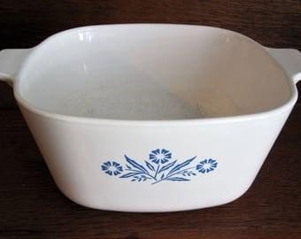 Vintage Corning Ware Casserole Dish Blue Cornflower 1 3/4 qt