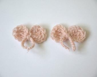 2 APPLIQUE BOWS crochet salmon 5.5 X 2.5 cm
