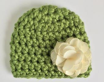 Green Beanie with Burlap Flower, Ready to Ship, Baby Girl Beanie, Crochet Hat Baby, Newborn Girl Hat, Baby Shower Gift Girl, Newborn Hat