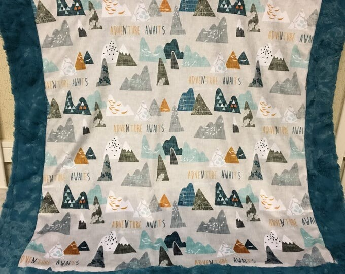Adventure Awaits- Designer Double Minky- Baby and Child Minky Blanket