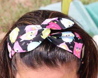 Jean Wired Headband- Headband Wrap -Twist  , Girls Headband .Navy and Black checkers headband - Gift under 10 -