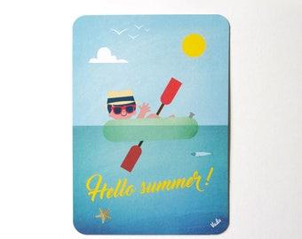 summer, sea, boy, children, boat, vintage retro style, ateliervudo, vudo