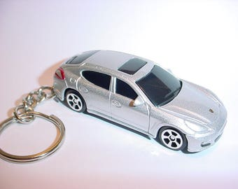 3D Porsche Panemera custom keychain by Brian Thornton keyring key chain finished in silver color trim diecast metal body
