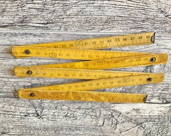 Folding ruler Soviet wooden meter Wooden folding ruler Vintage wooden folding ruler Old wooden meter Retro wooden  folding meter Ruler