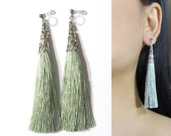 Sage Green Tassel Clip-On Earrings |35M| Dangle Long Clip Earring, Silver Filigree Clip-ons, Boho Wedding Bridal Clip On Non Pierced Earring