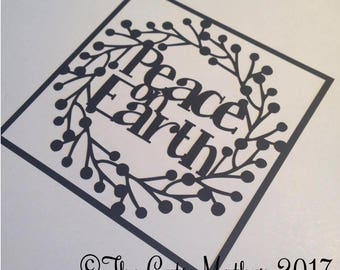 Peace On Earth Wreath Christmas Card Paper Cutting Template - Commercial Use