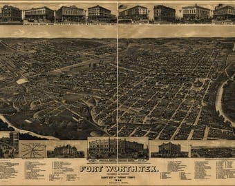 Poster, Many Sizes Available; Map Of Fort Worth Texas 1886