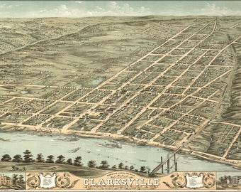 Poster, Many Sizes Available; Birdseye View Map Of Clarksville, Tennessee 1870