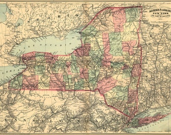 Poster, Many Sizes Available; 1871 Map Of New York State